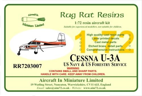 Rug Rat Resins 1/72 Cessna U-3A-U.S. Navy & US Forestry # RR7203007