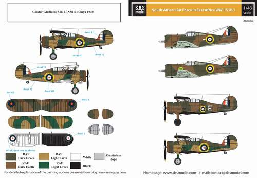 SBS Decals 1/48 South African Air Force in East Africa WWII Vol.I # D4836D
