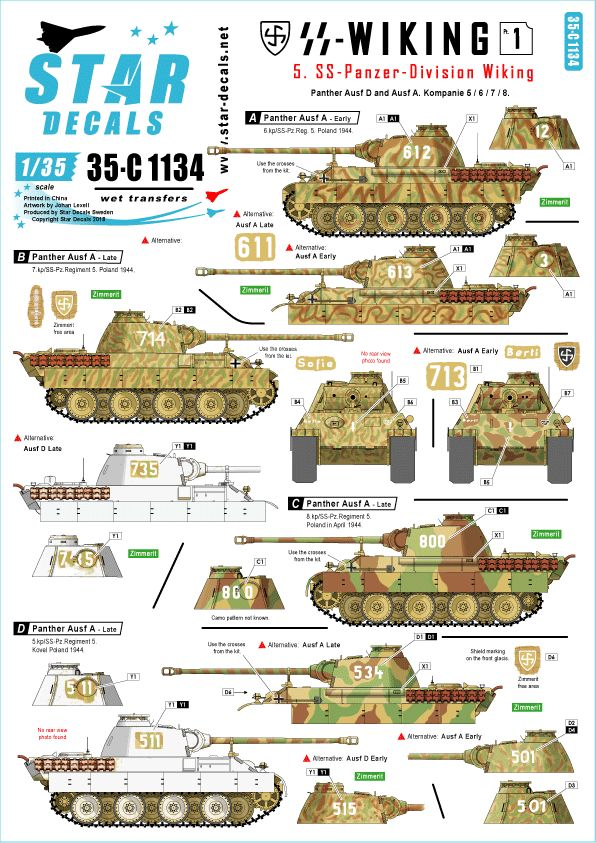 Star Decals 1/35 5. SS-Panzer Division Wiking. Panther Pz.Kpfw # 35-C1134