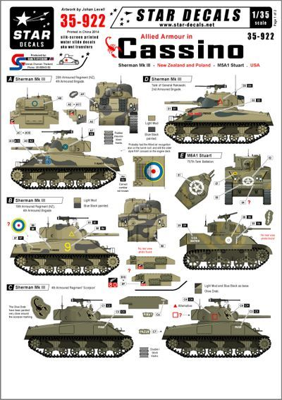 Star Decals 1/35 Allied armour in Cassino. New Zealand, Poland and USA # STAR35922