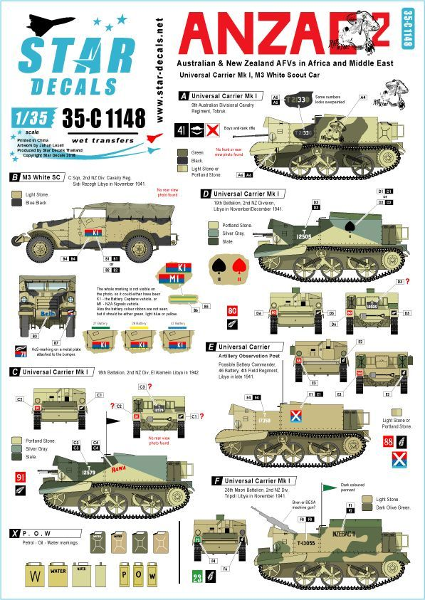 Star Decals 1/35 ANZAC # 2. Australian & NZ AFVs # 35-C1148