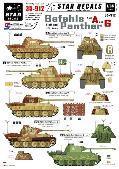 Star Decals 1/35 Befehl-Panthers Ausf.A and G # STAR35912