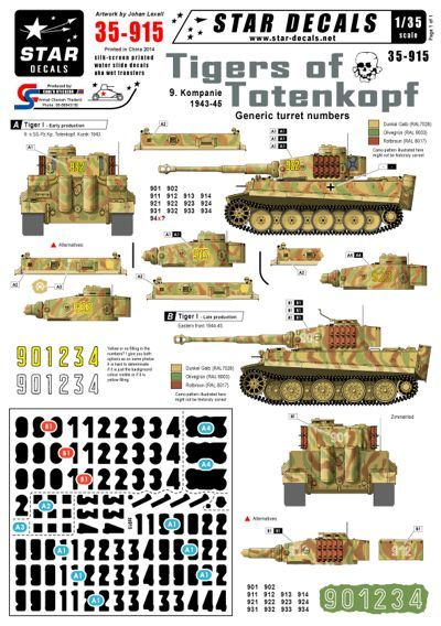 Star Decals 1/35 Generic turret numbers for Early and Late Pz.Kpfw # STAR35915