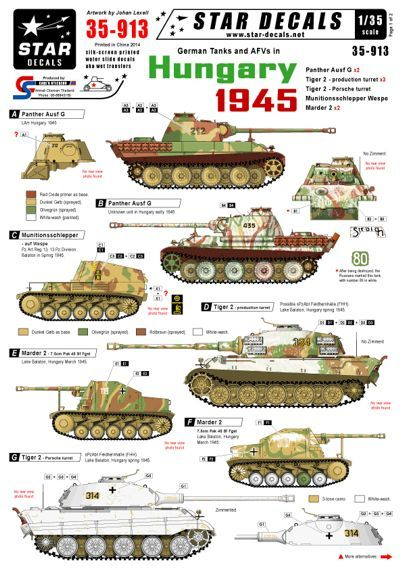 Star Decals 1/35 German tanks in Hungary 1945. Panther Ausf.G # STAR35913