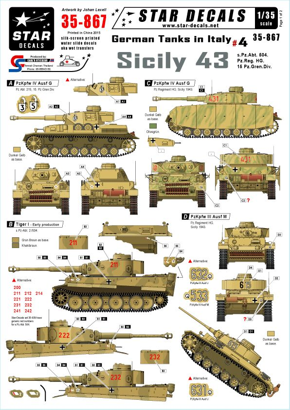 Star Decals 1/35 German Tanks in Italy #4 - Sicily 43. s.Pz.Abt # STAR35867