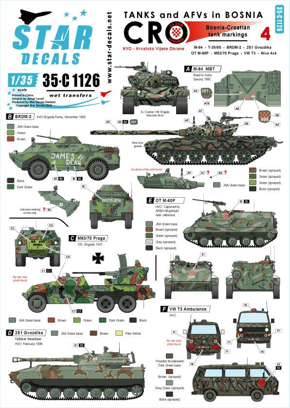 Star Decals 1/35 HVO (Croat). M-84, Soviet BRDM-2 2S1 Gvosdika # 35-C1126