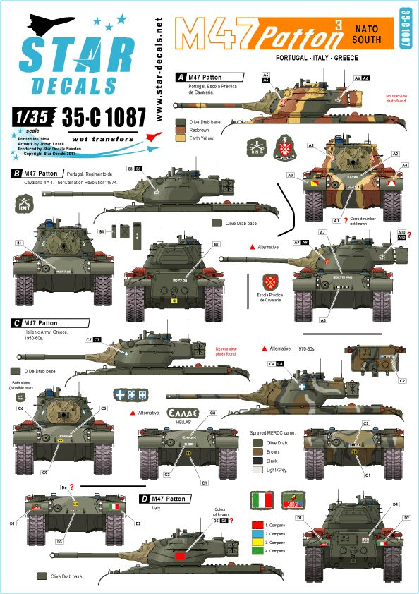 Star Decals 1/35 M47 Patton # 3. NATO South # 35-C1087