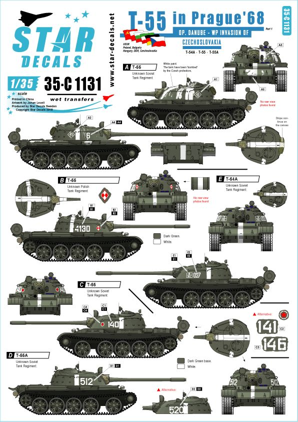 Star Decals 1/35 Operation Danube, the WP invasion of Czechoslovakia in 1968 # 35-C1131