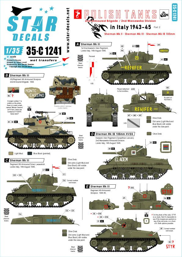 Star Decals 1/35 Polish Tanks in Italy 1943-45 # 2 # 35-C1241
