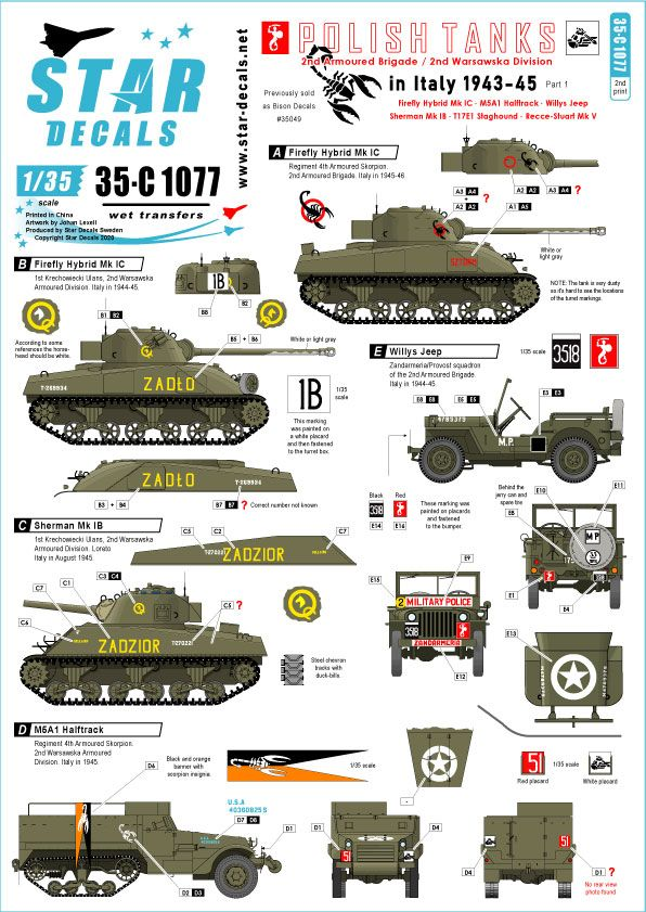 Bison Decals 1//35 POLISH TANKS IN ITALY 2nd Armoured Brigade Part 2