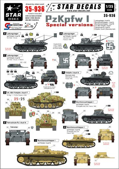 Star Decals 1/35 Pz.Kpfw.I - Special versions # STAR35936