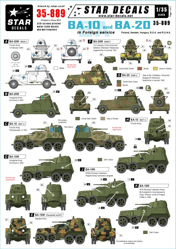 Star Decals 1/35 Soviet BA-10 and BA-20 armoured cars in foreign service # STAR35889