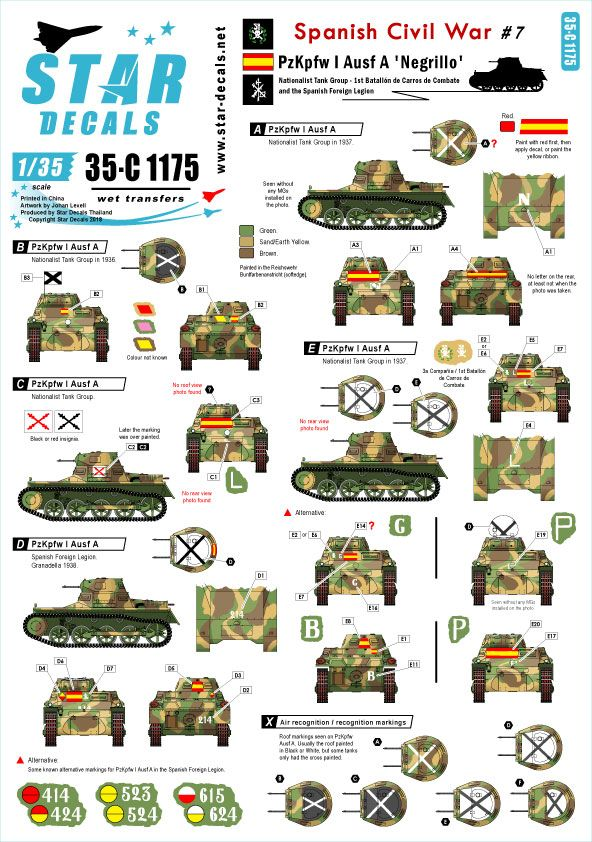 Star Decals 1/35 Spanish Civil War # 7. Pz.Kpfw.I Ausf.A 'Negrillo'. # 35-C1175