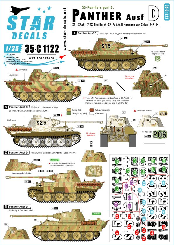Star Decals 1/35 SS-Panthers # 6. Pz.Kpfw.V Ausf.D Panther D # 35-1122