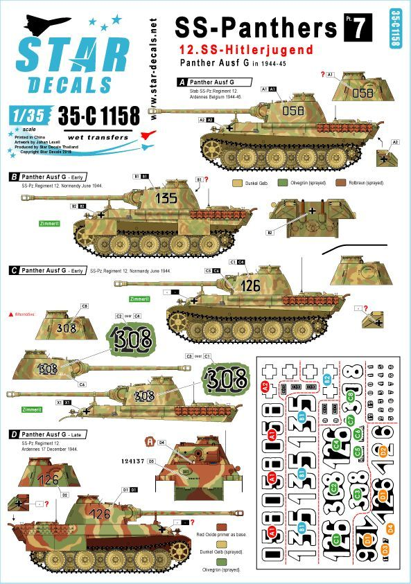 Star Decals 1/35 SS-Panthers # 7. 12. SS-Hitlerjugend Panther Ausf.G # 35-C1158