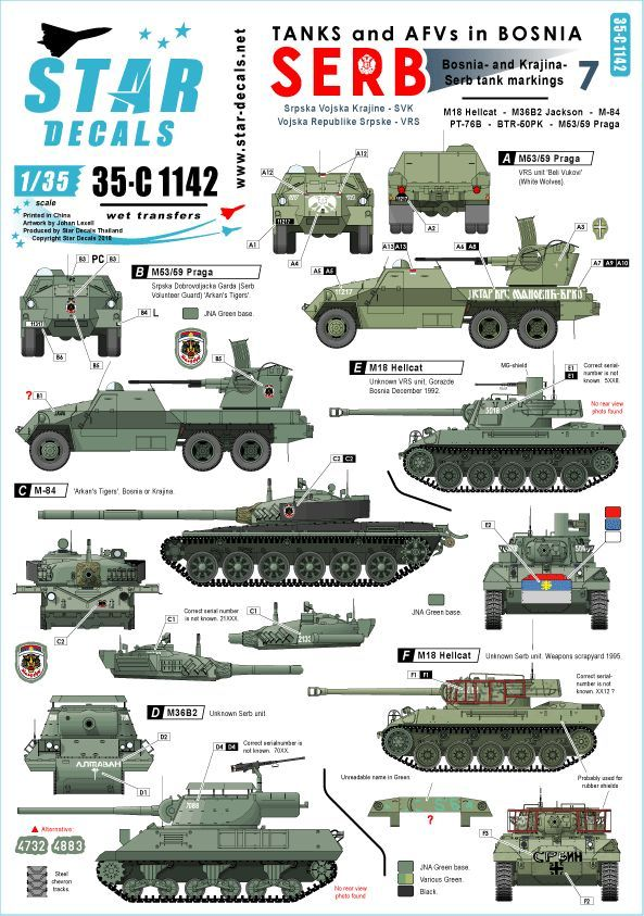 Star Decals 1/35 Tanks & AFVs in Bosnia # 7. Serbian M84 # 35-C1142