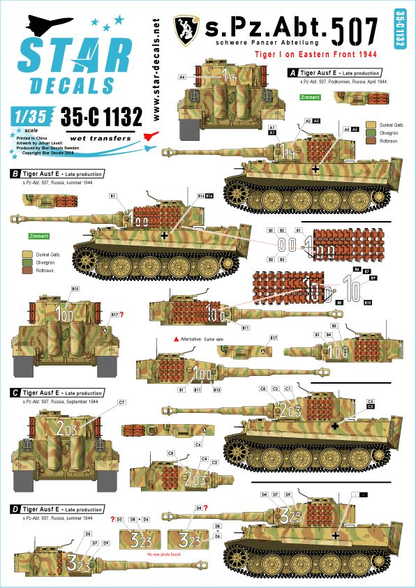 Star Decals 1/35 Tiger I - Late production, on the Eastern front 1944 # 35-C1132