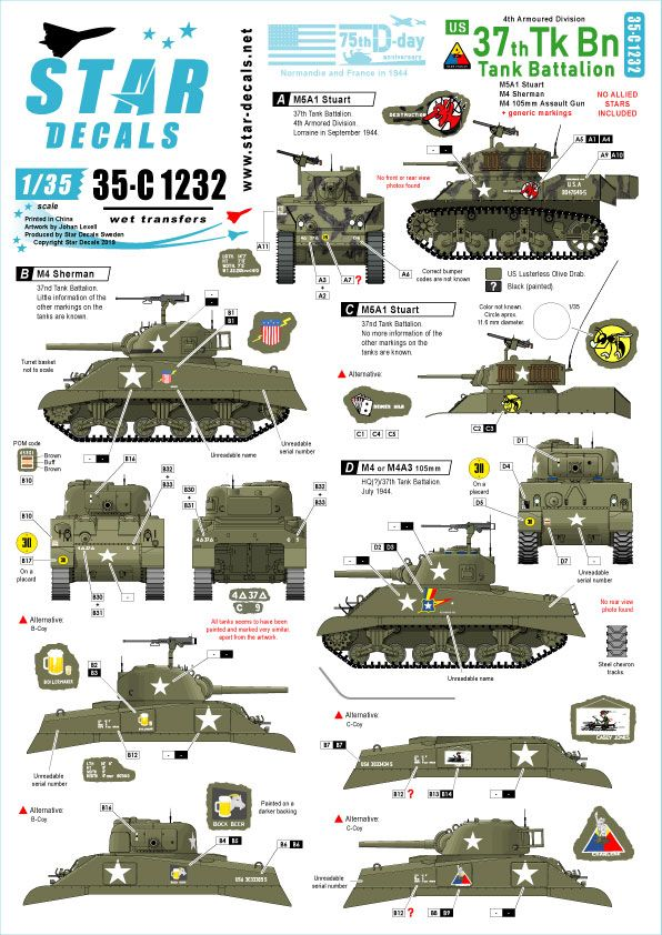 Star Decals 1/35 US 37th Tank Battalion 75th-D-Day-Special Normandy & France in 1944 # 35-C1232
