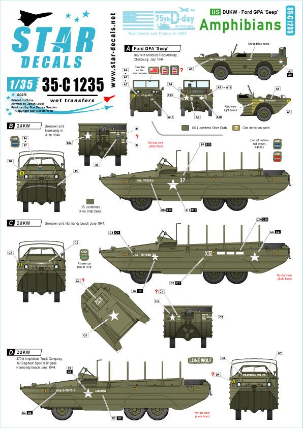 Star Decals 1/35 US Amphibians 75th-D-Day-Special Normandy & France in 1944 # 35-C1235