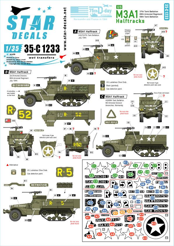 Star Decals 1/35 US M3A1 Halftracks 75th-D-Day-Special Normandy & France in 1944 # 35-C1233