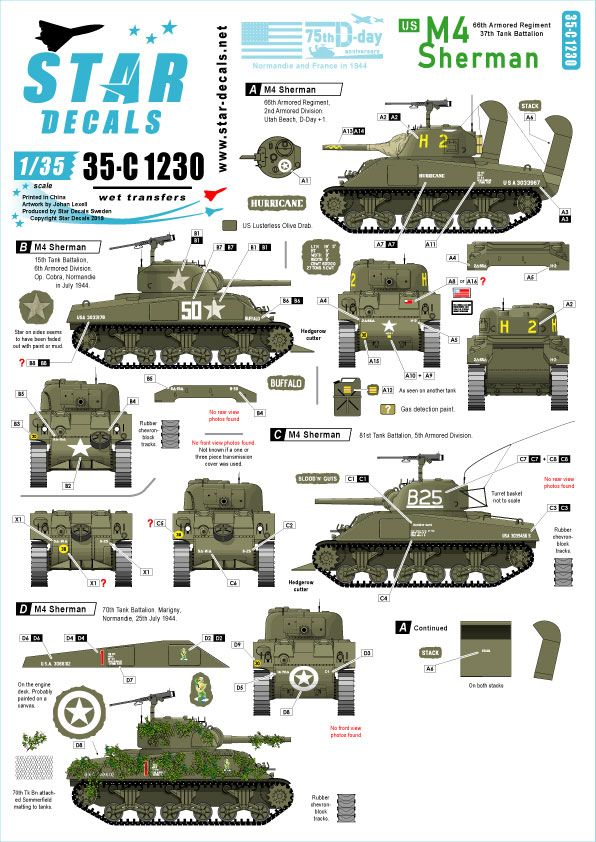 Star Decals 1/35 US M4 Sherman 75th-D-Day-Special Normandy & France in 1944 # 35-C1230