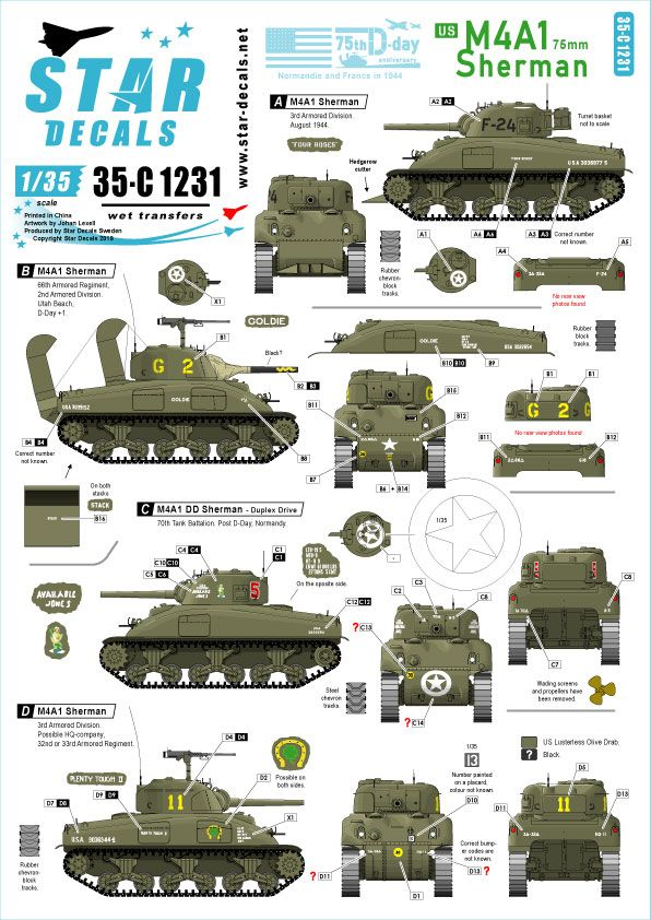 Star Decals 1/35 US M4A1 75mm Sherman 75th-D-Day-Special Normandy & France in 1944 # 35-C1231
