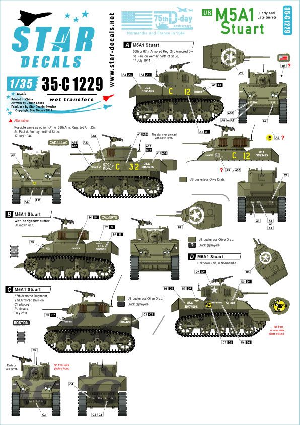 Star Decals 1/35 US M5A1 Stuart 75th-D-Day-Special Normandy & France in 1944 # 35-C1229