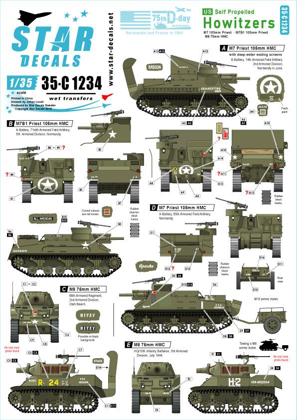 Star Decals 1/35 US Self Propelled Howitzers 75th-D-Day-Special Normandy & France in 1944 # 35-C1234