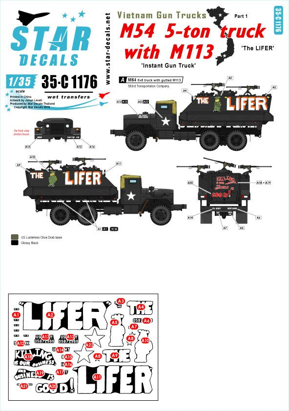 Star Decals 1/35 Vietnam Gun Trucks # 1. 'The LIFER'.  # 35-C1176