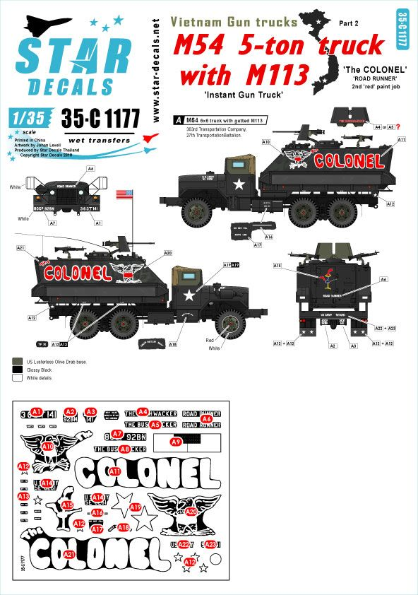 Star Decals 1/35 Vietnam Gun Trucks # 2. 'The COLONEL'  # 35-C1177