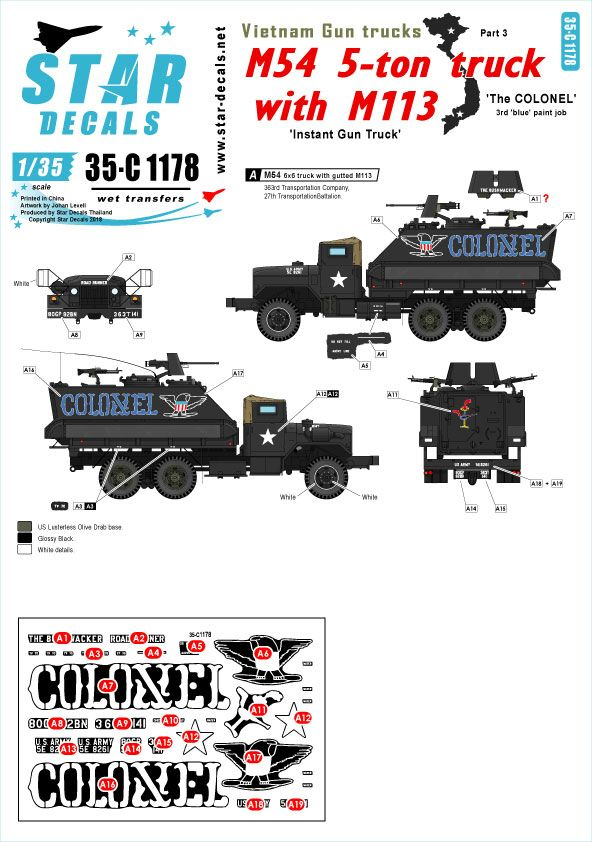 Star Decals 1/35 Vietnam Gun Trucks # 3. 'The COLONEL'  # 35-C1178