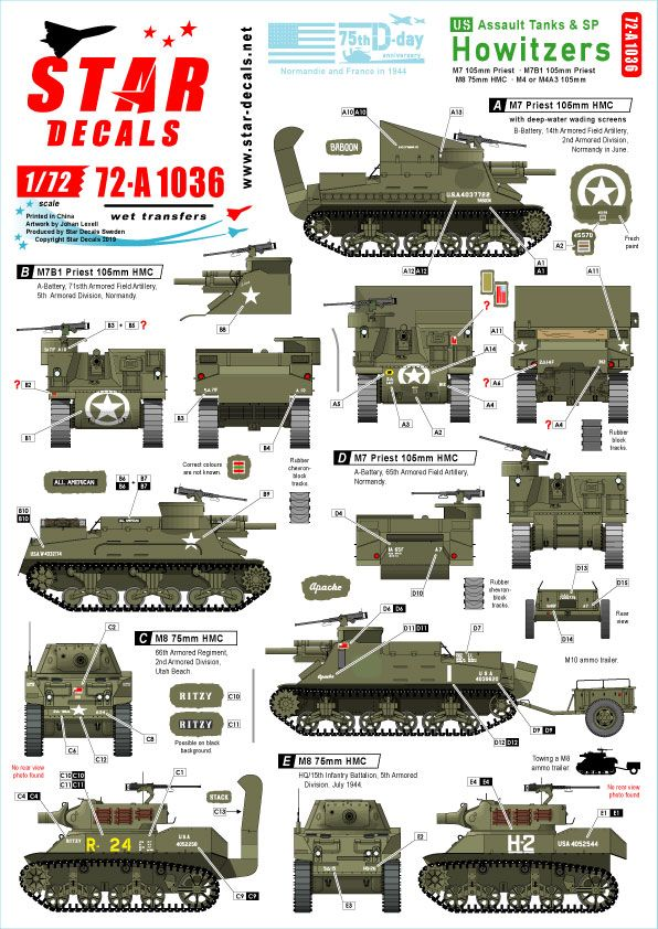 Star Decals 1/72 US Assault Tanks & S.P. Howitzers 75th-D-Day-Special Normandy & France in 1944 # 72