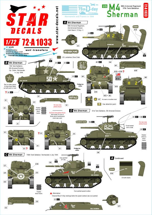 Star Decals 1/72 US M4 Sherman 75th-D-Day-Special Normandy & France in 1944 # 72-A1033