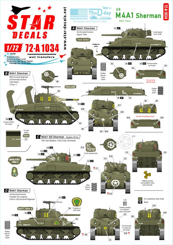 Star Decals 1/72 US M4A1 Sherman 75th-D-Day-Special Normandy & France in 1944 # 72-A1034