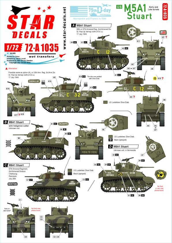 Star Decals 1/72 US M5A1 Stuart 75th-D-Day-Special Normandy & France in 1944 # 72-A1035