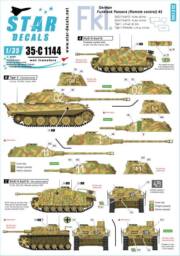 Star Decals German Funklenk (Fkl) tanks # 2 # 35-C1144