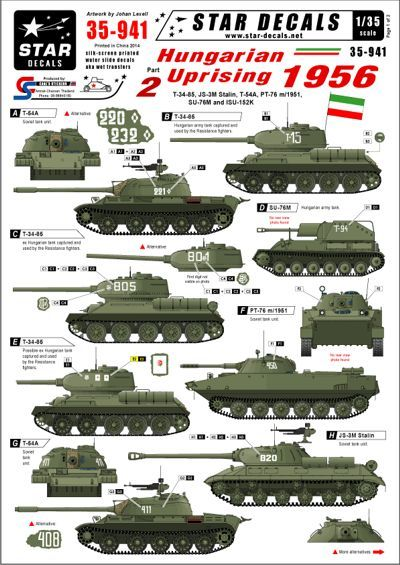 Star Decals Hungarian Uprising 1956 #2. Soviet T-34-85 # STAR35941