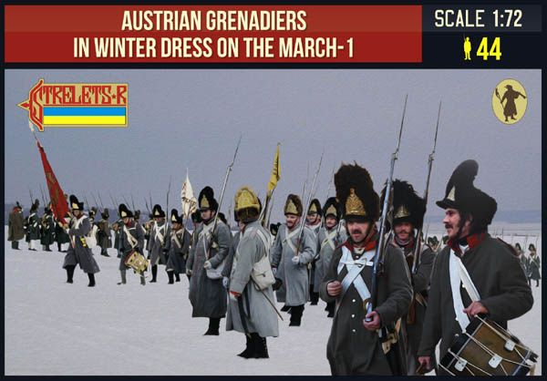 Strelets 1/72 Austrian Grenadiers in Winter Dress on the March 1 Napoleonic # 209