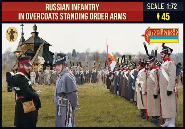 Strelets 1/72 Russian Infantry in Overcoats Standing Order Arms Napoleonic # 219