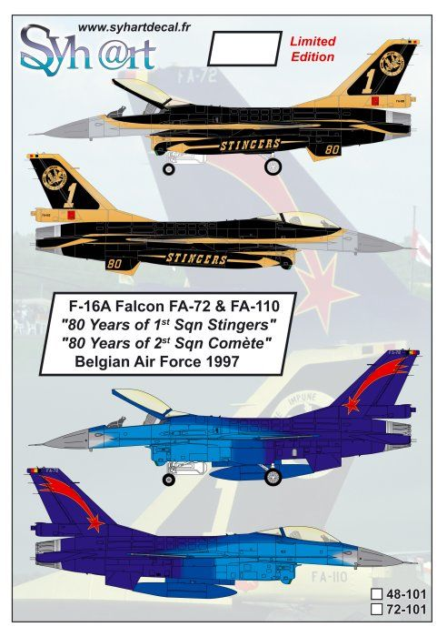 Syhart 1/72 General-Dynamics F-16A Falcon FA-72 & FA-110 80 Years # 72101