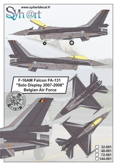 Syhart 1/72 General-Dynamics F-16AM Falcon FA-131 # 72081