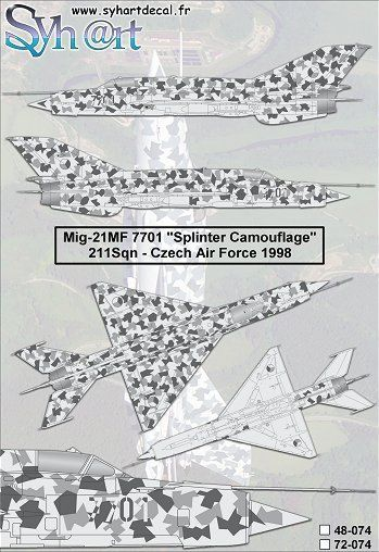 "Syhart 1/72 Mikoyan MiG-21MF 7701 ""Splinter Camouflage"" Czech Air Force 1998  # 72074"