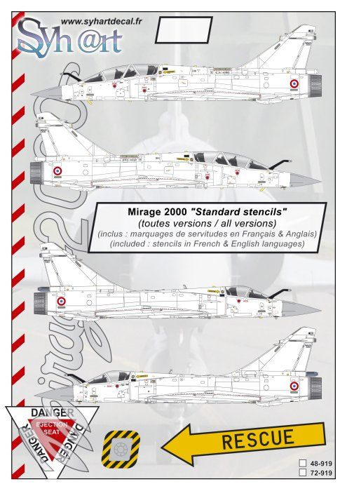 "Syhart Decals 1/72 Dassault Mirage 2000 ""Stencils"" - (all versions) # 72919"