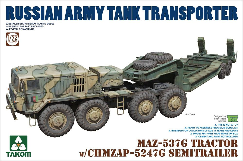 Takom 1/72 MAZ-537G Tractor with CHMZAP-5247G Semi-Trailer # 05004
