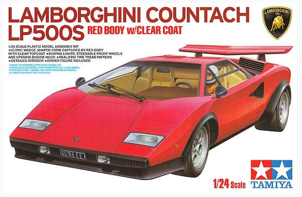 Tamiya 1/24 Lamborghini Countach LP500S Red Body with Clear Coat # 25419
