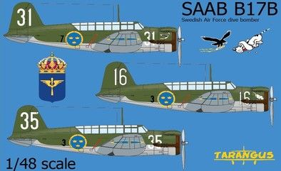 Tarangus 1/48 SAAB B-17 Swedish Air Force Dive Bomber # 48010