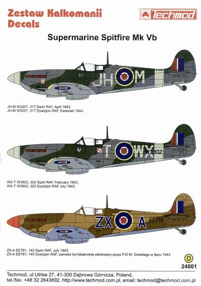 Techmod Decals 1/24 Supermarine Spitfire Mk.Vb # 24001
