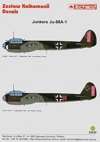Techmod Decals 1/32 Junkers Ju-88A-1 # 32039