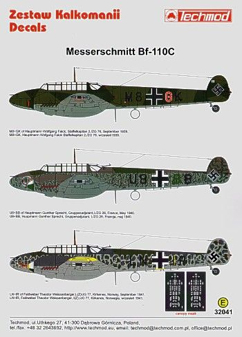 Techmod Decals 1/32 Messerschmitt Bf-110C # 32041