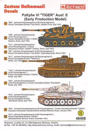 Techmod Decals 1/48 Pz.Kpfw.VI 'Tiger' Aust. E (Early) Camouflage & Markings Versions # 48408